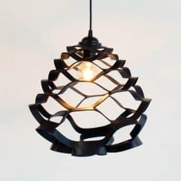 zwarte leren hanglamp