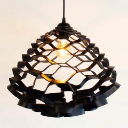 zwarte leren hanglamp medium